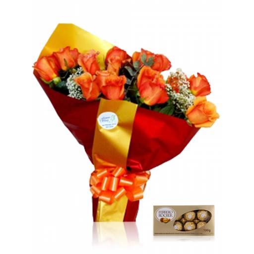 Ramo 18 Rosas + Bombones Ferrero R.