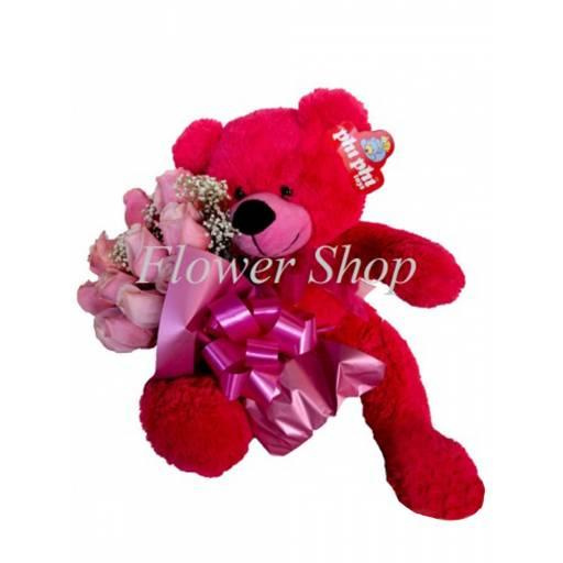 Peluche Oso con 12 rosas