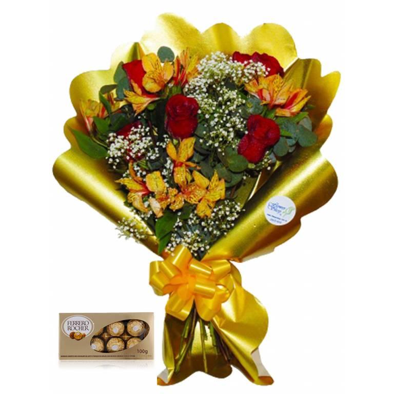 Brillante Ramo de 6 Rosas y 6 Astromelias + BOMBONES FERRERO