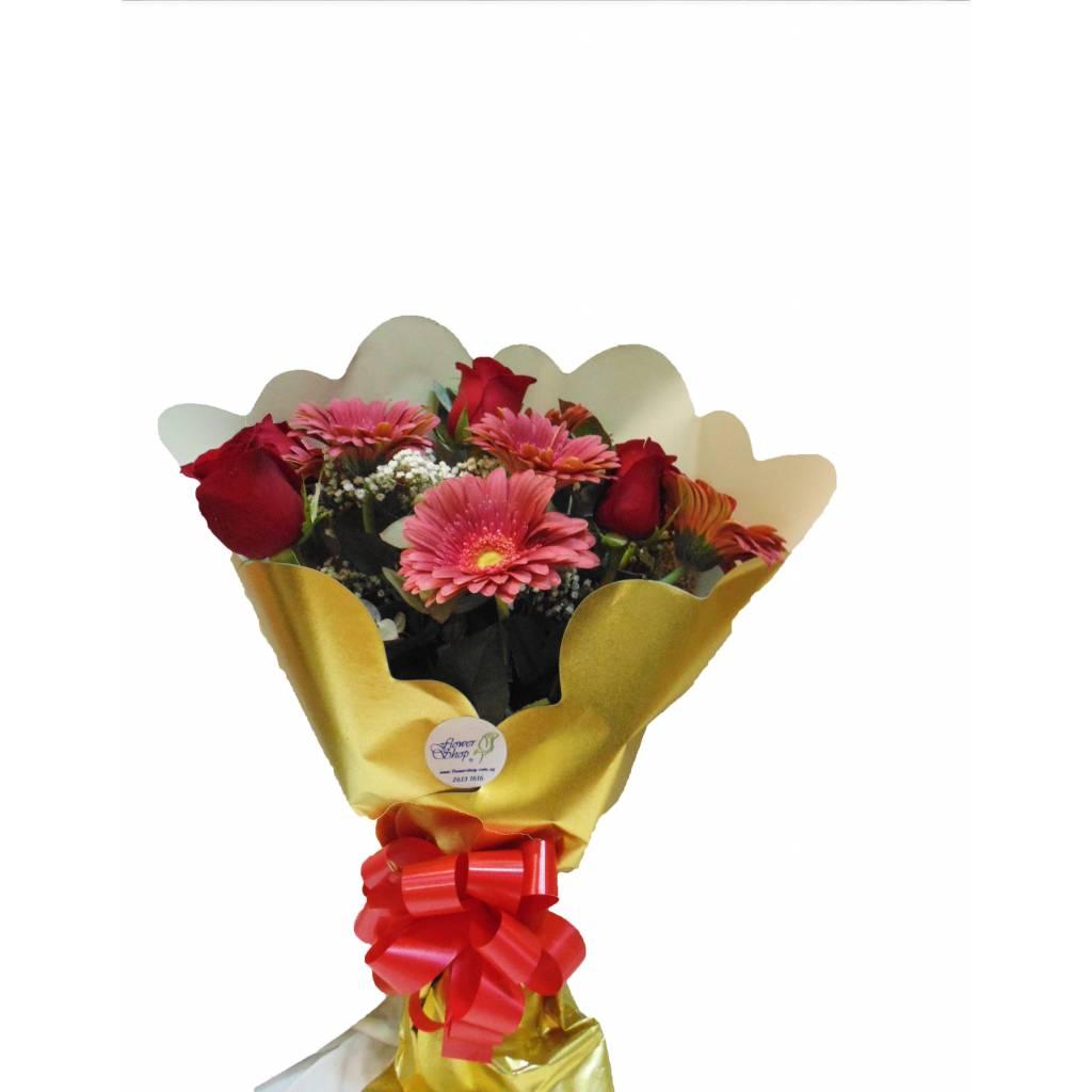 Ramo de 6 Rosas y 6 Gerberas