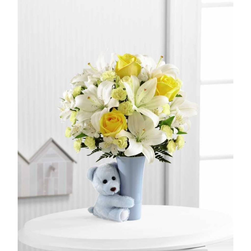 Bouquet en una manera dulce y adorable para felicitar a la nueva familia