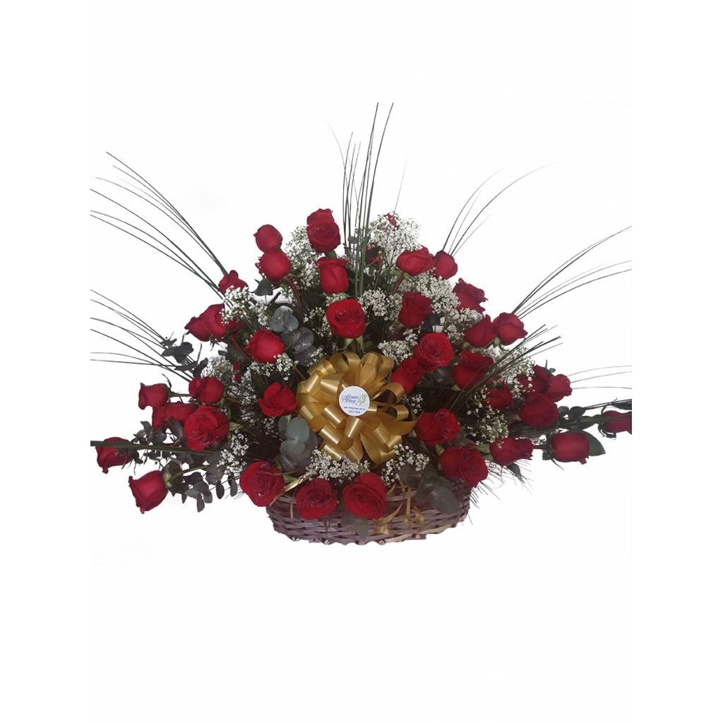 Espectacular Canasta de 60 Rosas Rojas