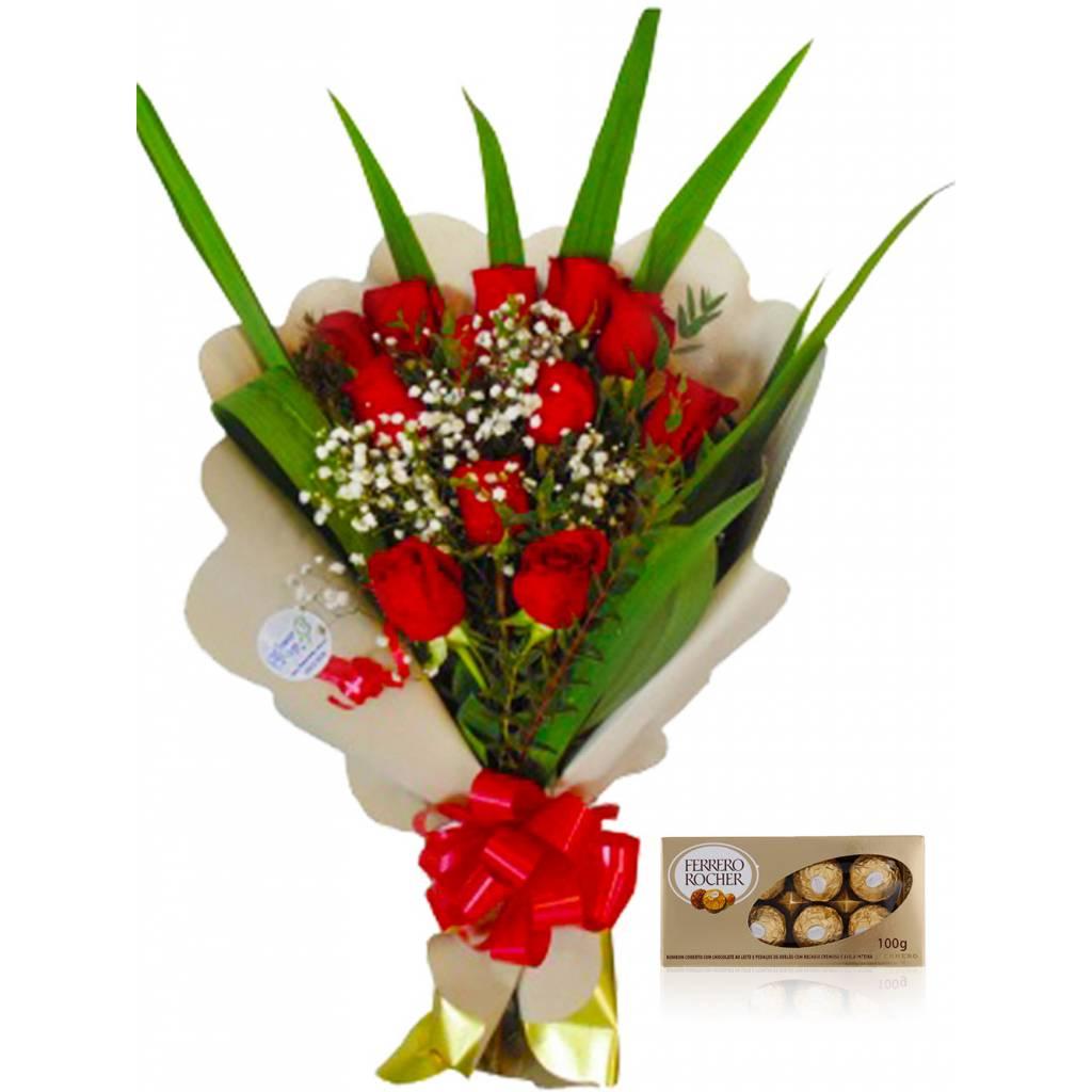 Ramo 12 Rosas con Verdes + Bombones Ferrero Rocher