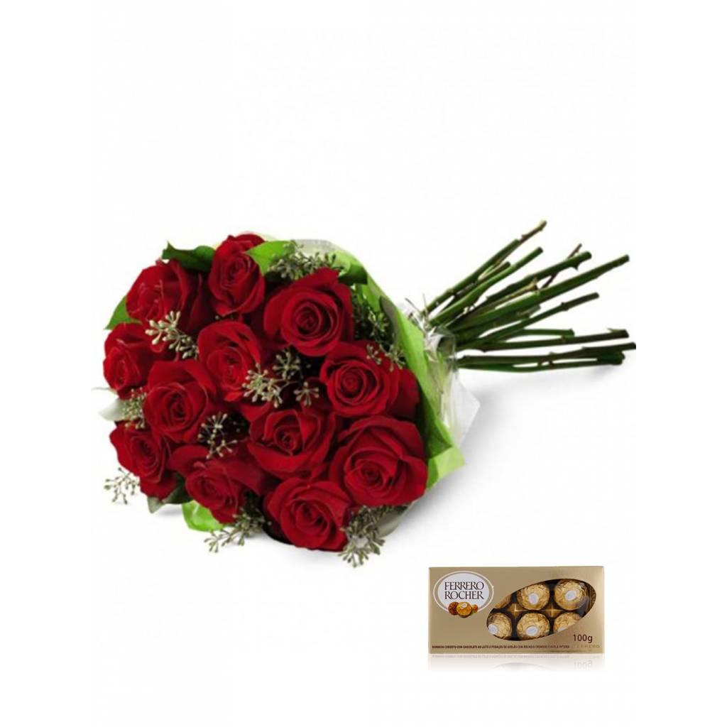 Ramo 12 Rosas Premium + Bombones Ferrero Rocher